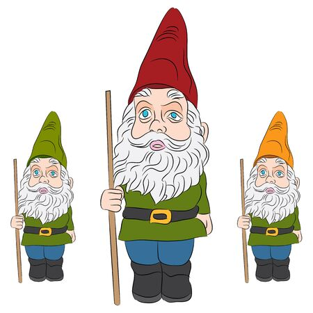 An image of a set of lawn gnomes. Ilustracja