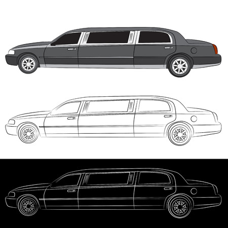 limousine: An image of a stretched limousine vehicle.
