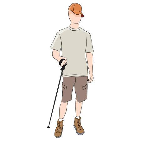 trekking pole: An image of a walker using a trekking pole.