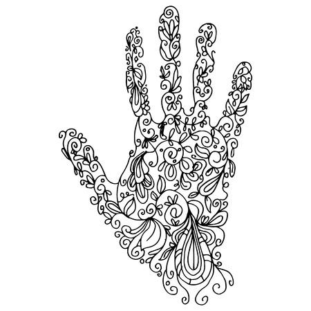 An image of a palm - zentangle style. Çizim