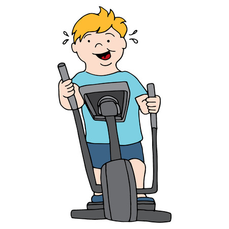 man working out: An image of a man riding an elliptical machine.