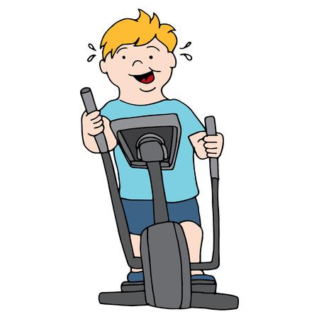 elliptical: An image of a man riding an elliptical machine.