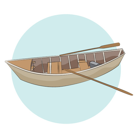 An image of a canoe with paddles.
