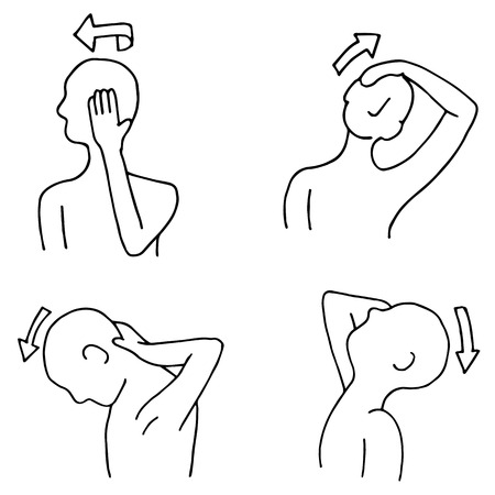 routine: An image of neck stretching routines. Illustration