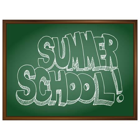 summer school: An image of summer school text on a chalkboard. Illustration