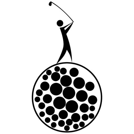 swinging: An image of a golfer swinging a golf club while standing on a golf ball.