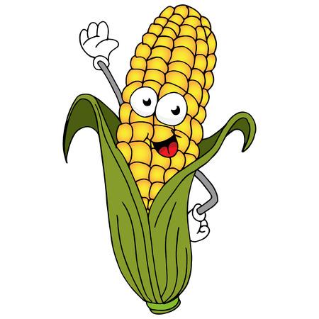 An image of a ear of corn cartoon character.
