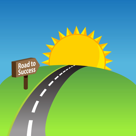 achievement clip art: An image of a road to success background.