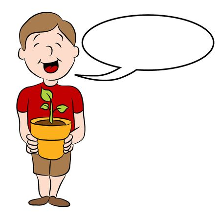 growing plant: An image of a man holding a plant that is newly growing.
