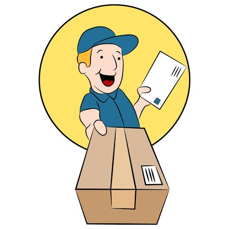 An image of a post office worker making a package delivery. Ilustracja