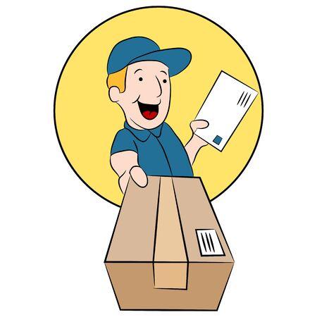 Obraz pracownika urzędu pocztowego dokonywania dostawy pakietu. Ilustracje wektorowe