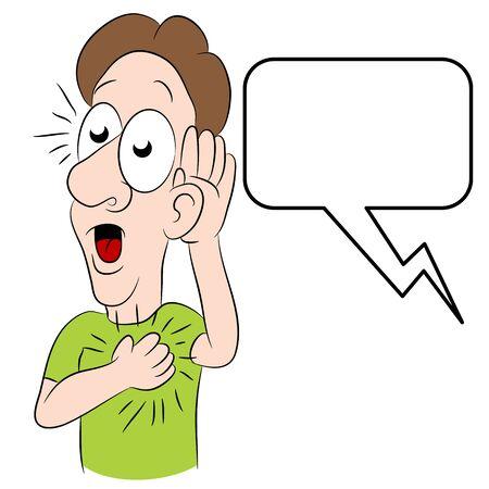 hearing: An image of a man hearing shocking news. Illustration