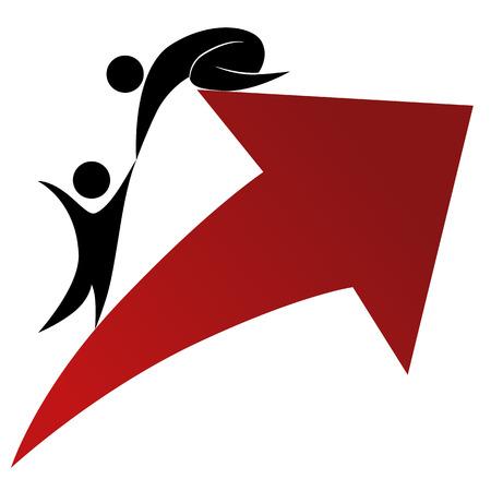성공과 지원 아이콘의 이미지. 일러스트