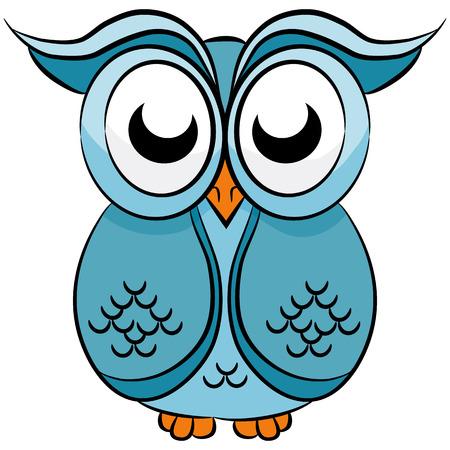An image of a cute cartoon owl. Ilustracja