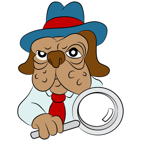 sleuth: An image of a cartoon dog detective with a magnifying glass.