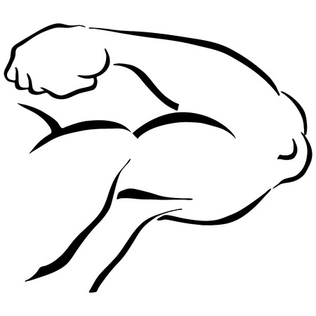 flexing muscles: An image of a man flexing his arm to show muscles.