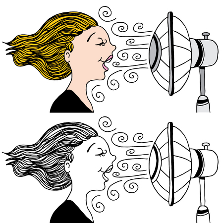 cool down: An image of a woman with a fan blowing in her face to cool down.