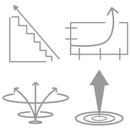 An image of an exponential growth icon set.