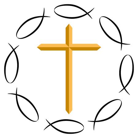 Een beeld van het christelijke kruis, omringd door Ichthys symbolen.