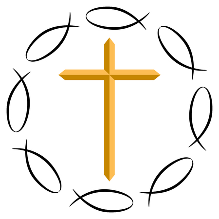 An image of the Christian cross surrounded by ichthys symbols.