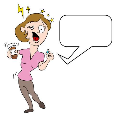 Een afbeelding van een cartoon vrouw duizelig van bijwerkingen van medicijnen. Stock Illustratie