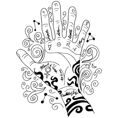 palm reading: An image of a palm reading hand background.