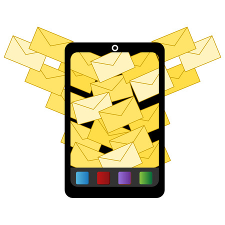 unsolicited: An image of an icon for spam email to digital device. Illustration