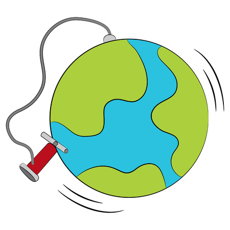 inflated: An image of a deflated globe being inflated. Illustration