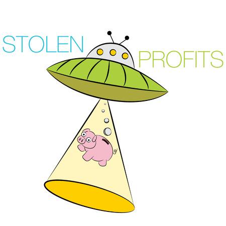 ビジネスのための盗まれた利益を表す漫画のイメージ。