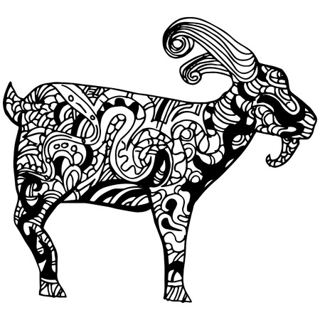 rams horns: An image of a goat - zentangle style.