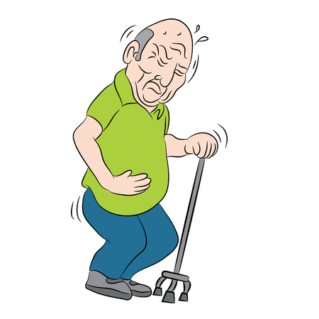 wobbly: An image of a male senior citizen using a walking cane.
