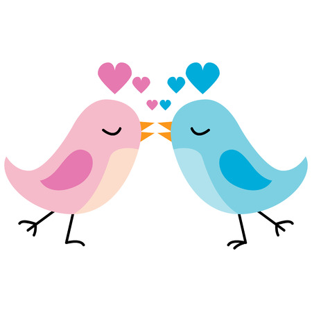 An image of a two cartoon birds kissing with hearts overhead.