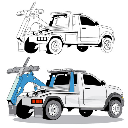 Tow truck. Illustration