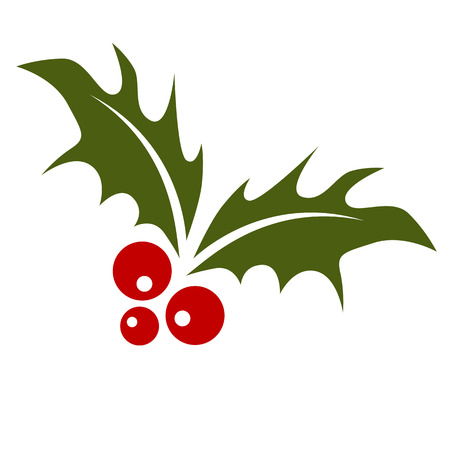 Holly leaf with red berries.