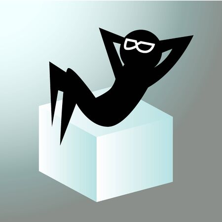 person silhouette: Silhouette figure who is relaxing on an ice cube (chilling out). Illustration