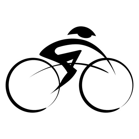 Abstract person riding a bicycle while wearing a helmet.