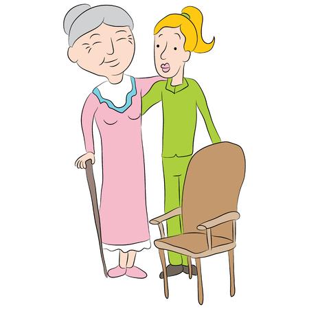 Cartoon girl helping a senior lady to a chair.