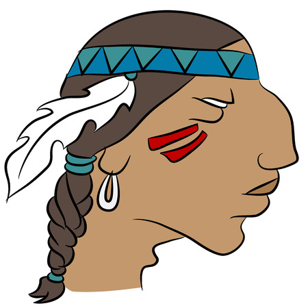Face of an indian wearing a headband with feather - profile.