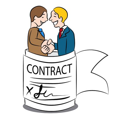 Cartoon representing an agreement in a contract. Çizim