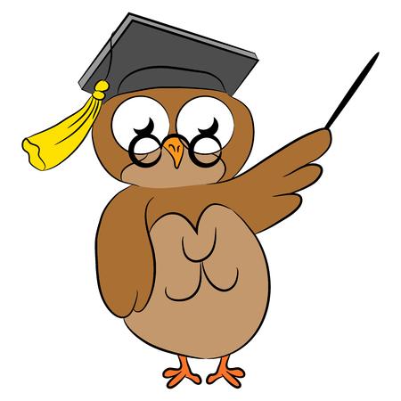 Cartoon wise owl. 向量圖像