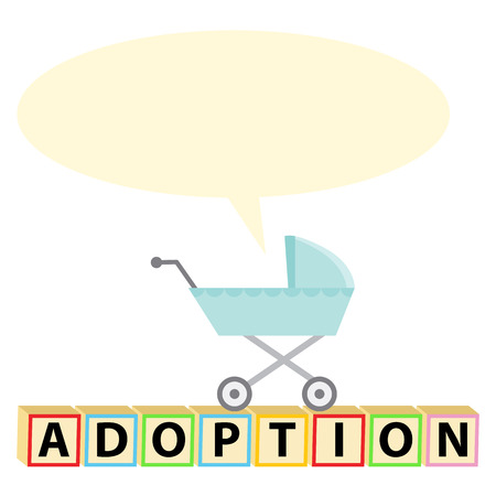 baby stroller: An image of a baby stroller with blank chat bubble with adoption text.
