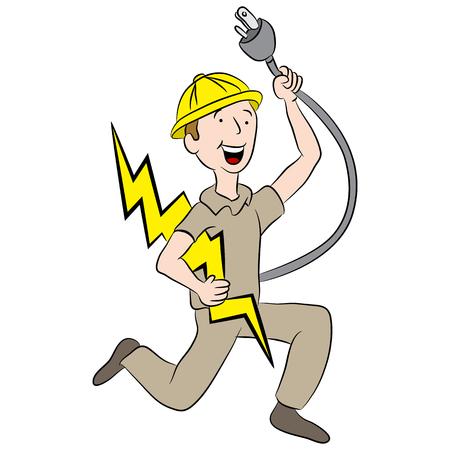 Cartoon male electrician holding a plug and lightning bolt. Illustration