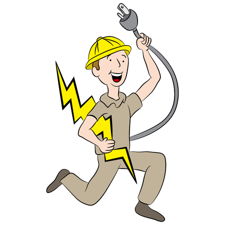 Cartoon male electrician holding a plug and lightning bolt. Иллюстрация
