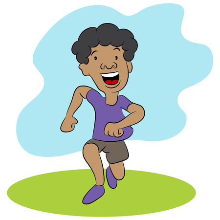 african americans: Male child running. Illustration
