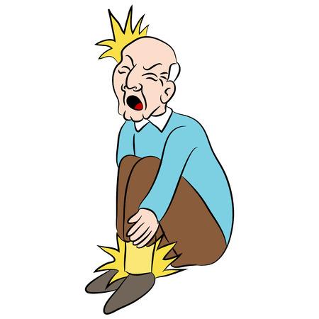 male feet: Cartoon man with pain in his feet.