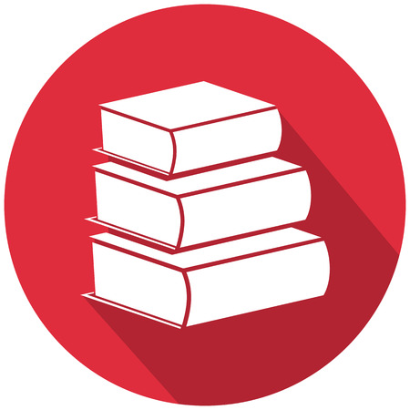 Stack of books in a red round icon. Illustration