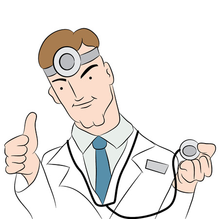 Physician giving a thumbs up for good health care.