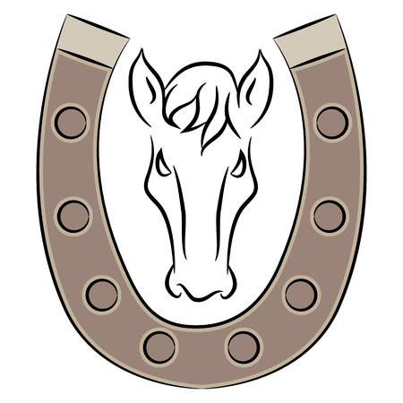 Horseshoe with horse drawing.