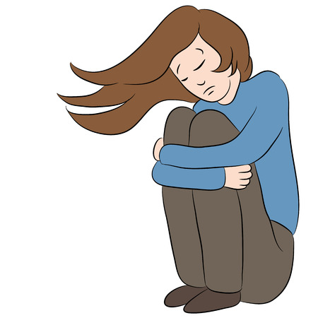 grieving: Cartoon female who is depressed.