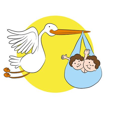 Cartoon stork delivering twin children.
